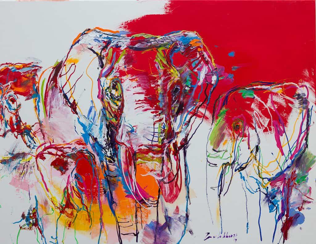 Schilderij olifanten