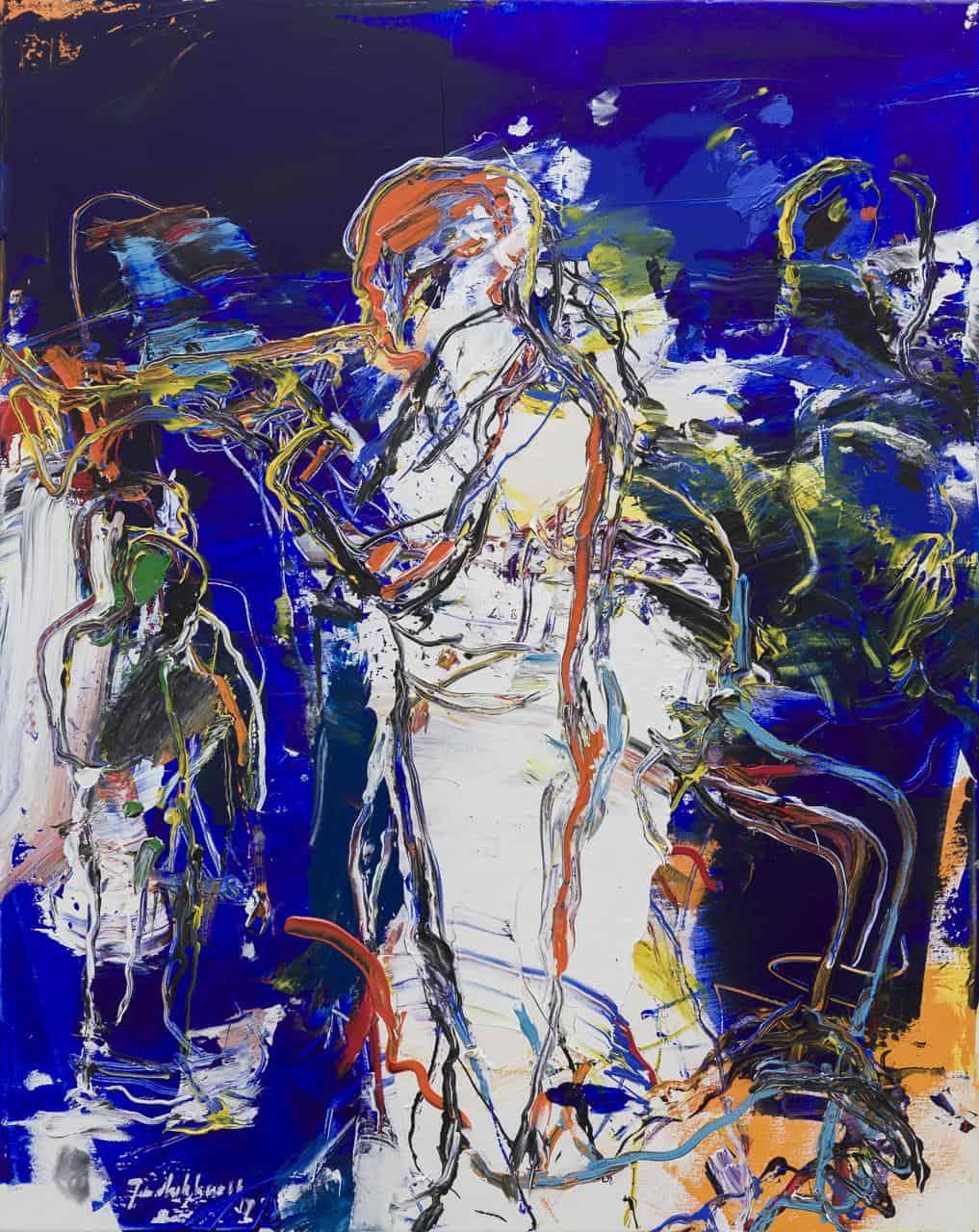Figuur compositie man met trompet
