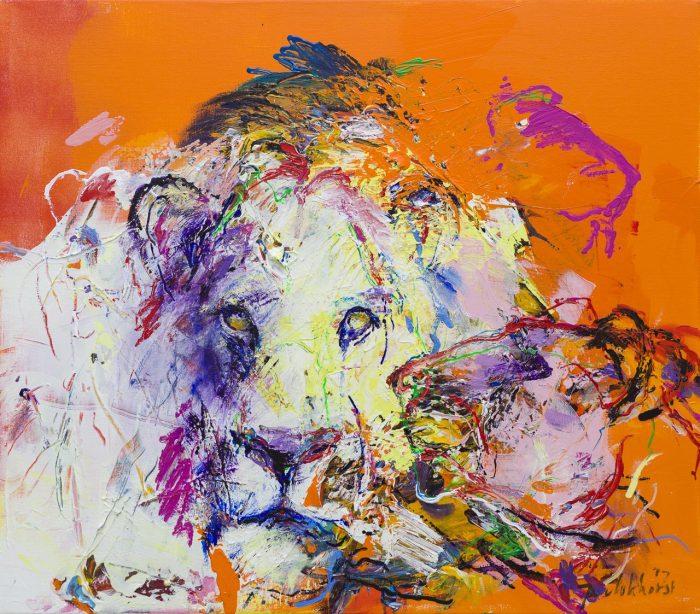Leeuwen schilderij donker oranje