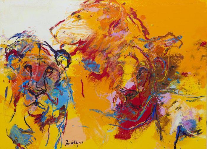 Schilderij met leeuwen oranje