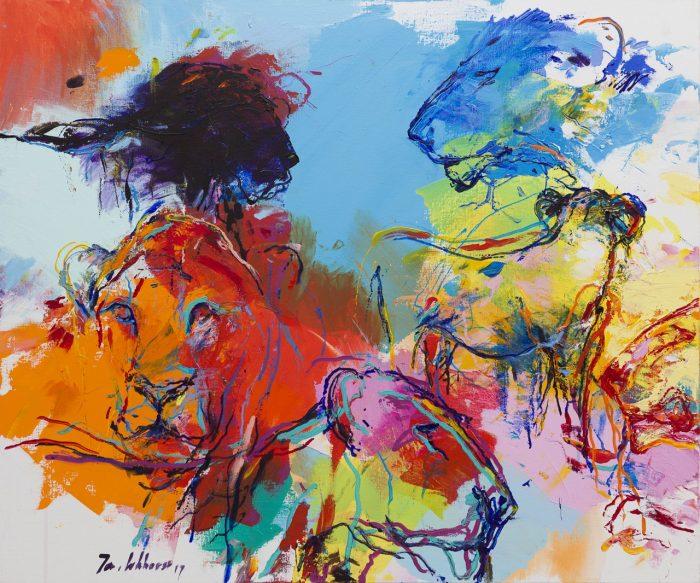 Schilderij leeuwen blauw