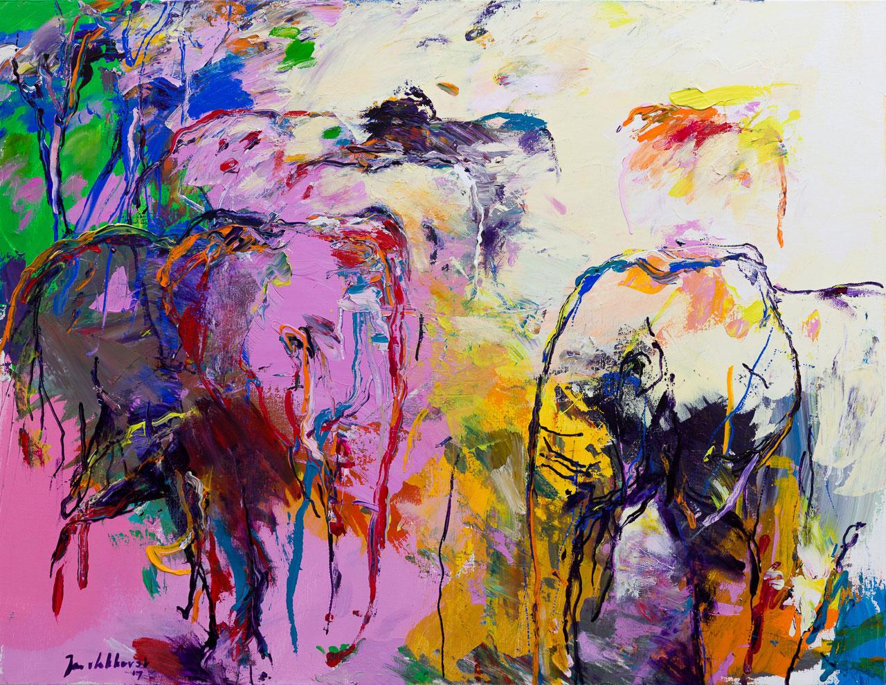 Olifanten schilderij paars