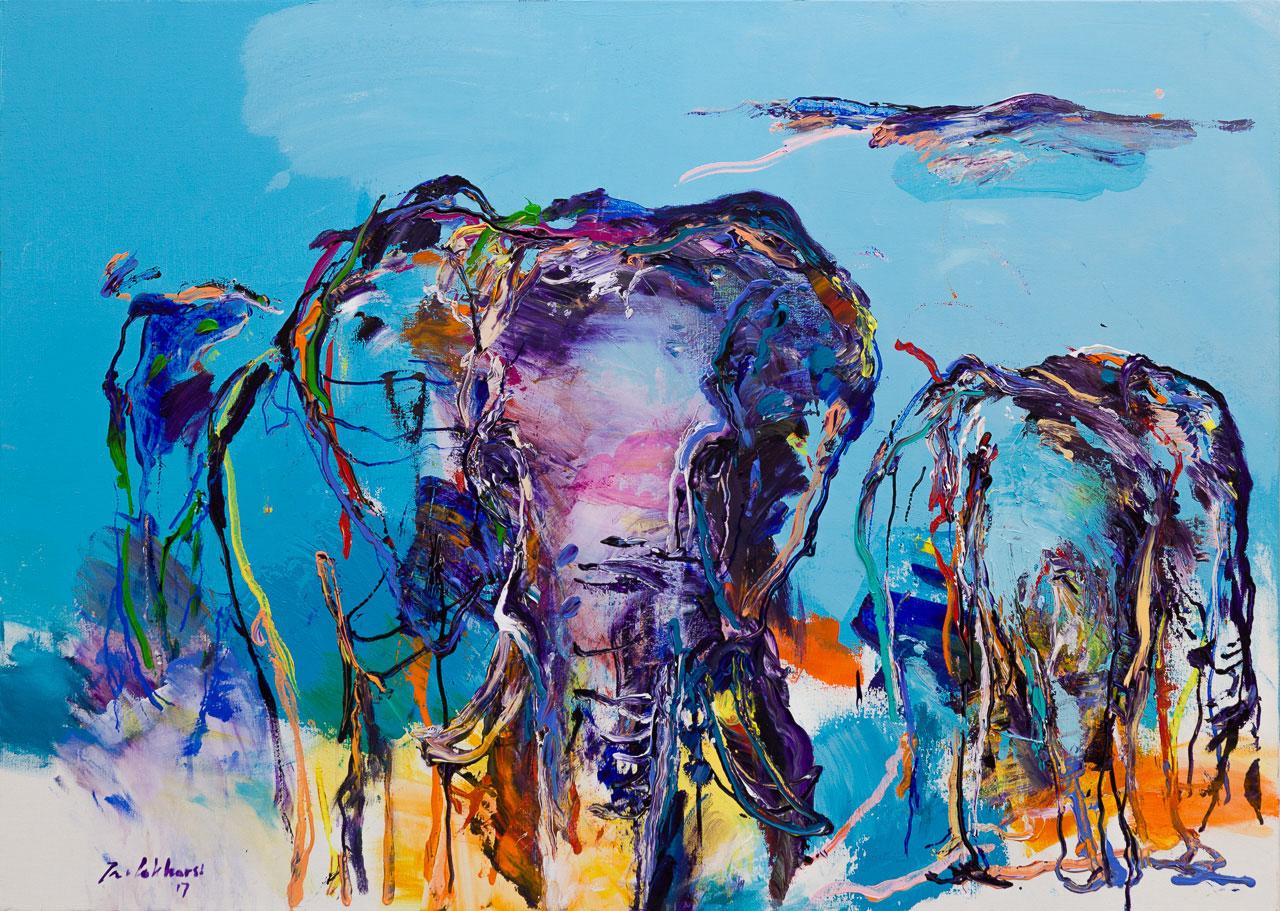 Schilderij olifanten blauw