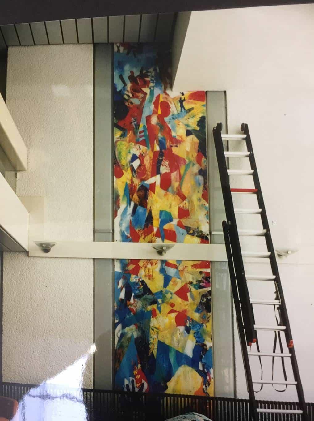 Wandschildering acryl paneel Exact Software