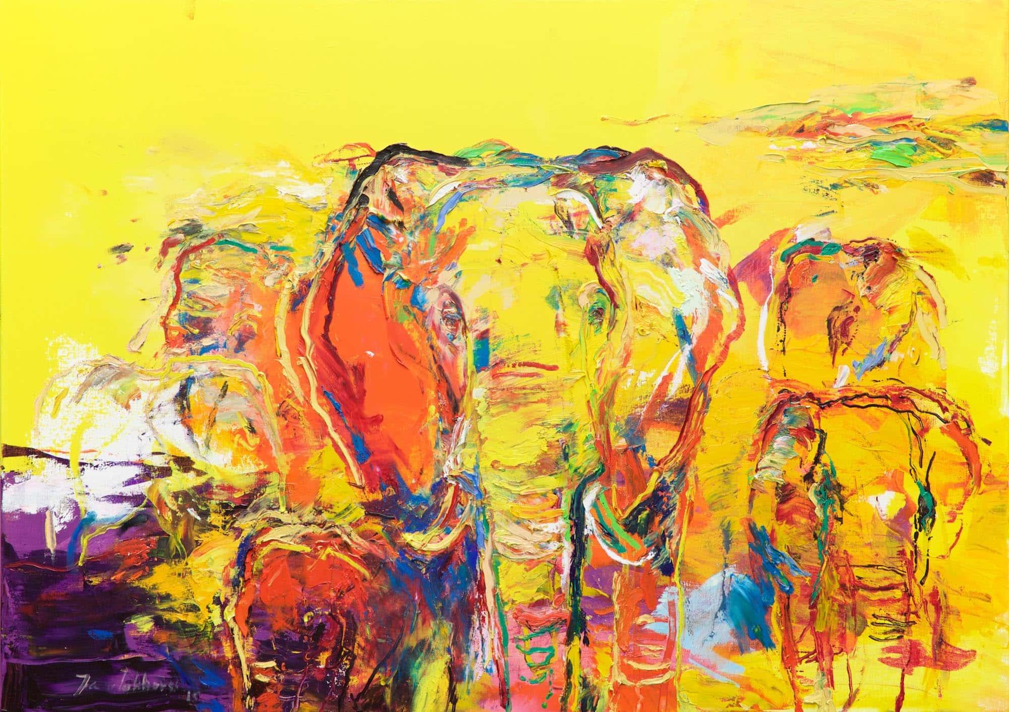 Olifanten olieverf op doek