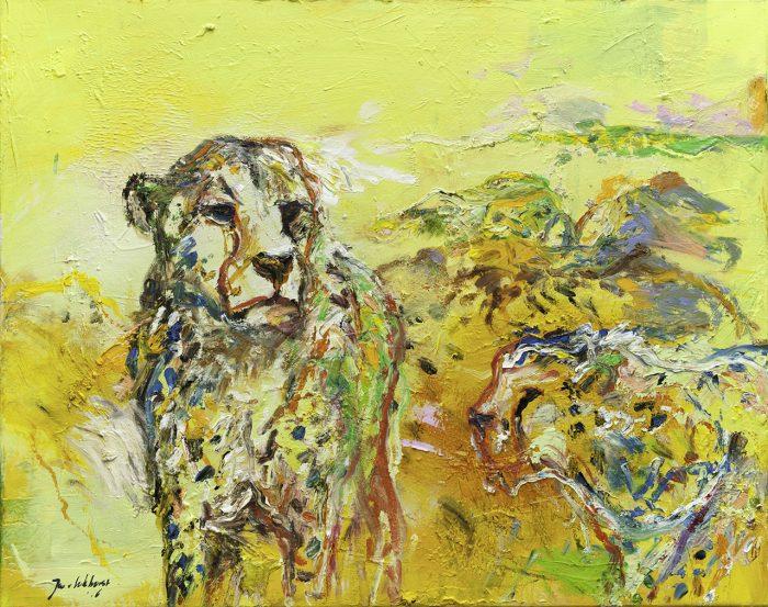 Luipaard olieverf schilderij