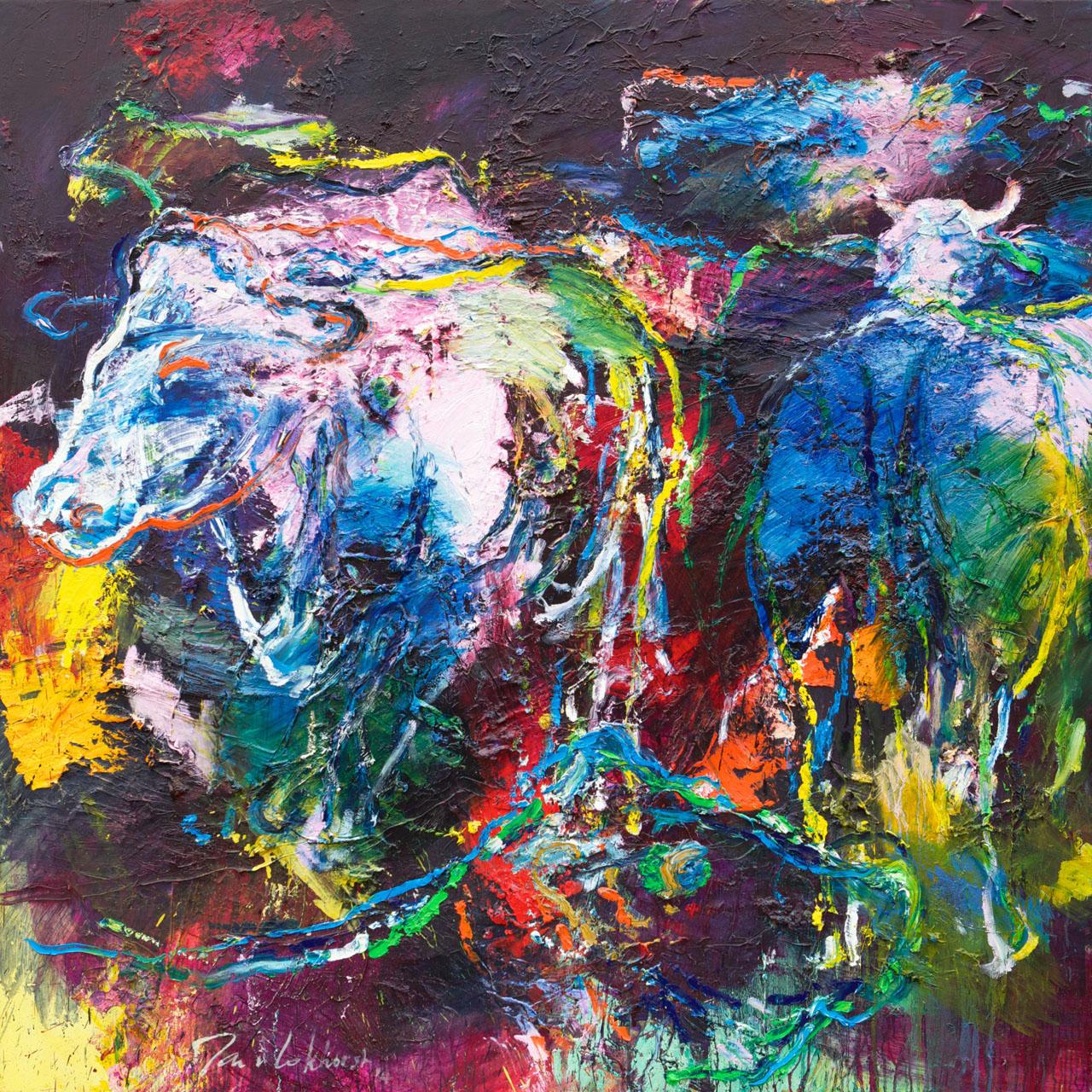 Schilderij koe kleurrijk