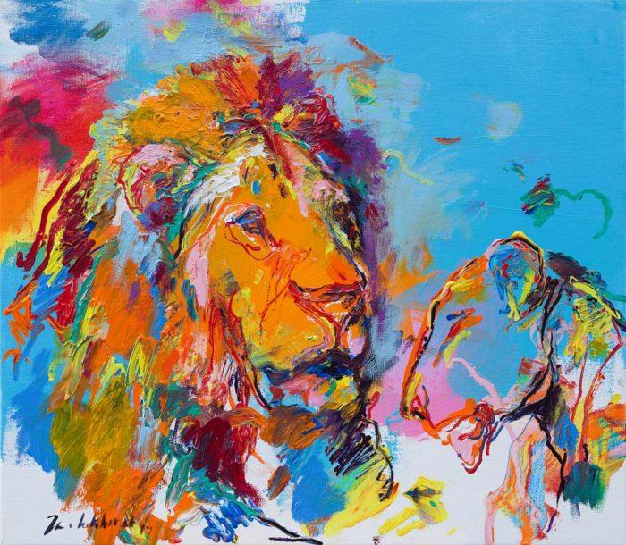 Schilderij leeuwen