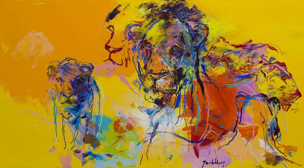 Leeuwen schilderij geel