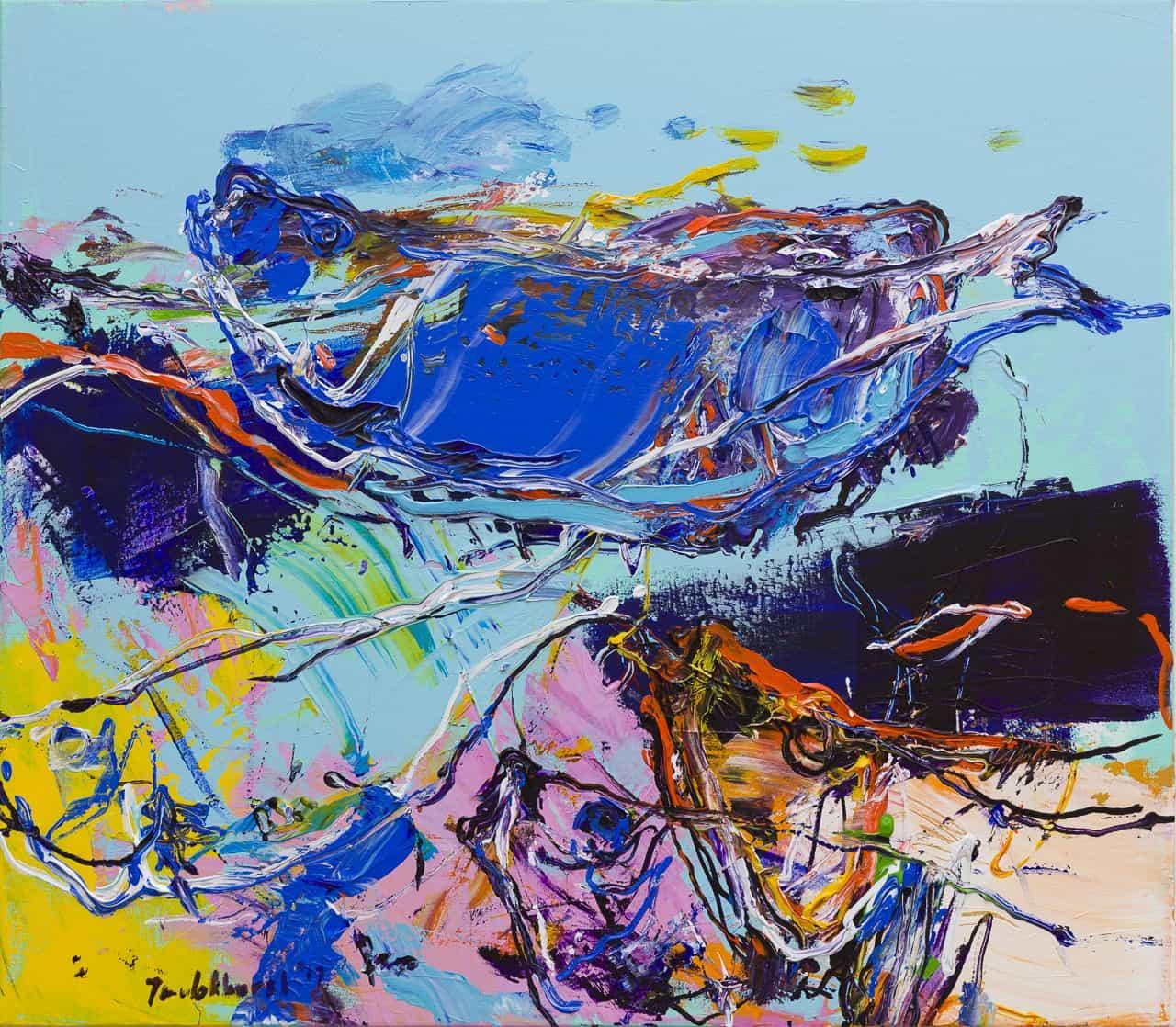 Schilderij vissen blauw