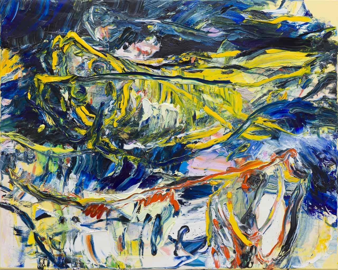 Schilderij vissen donker blauw