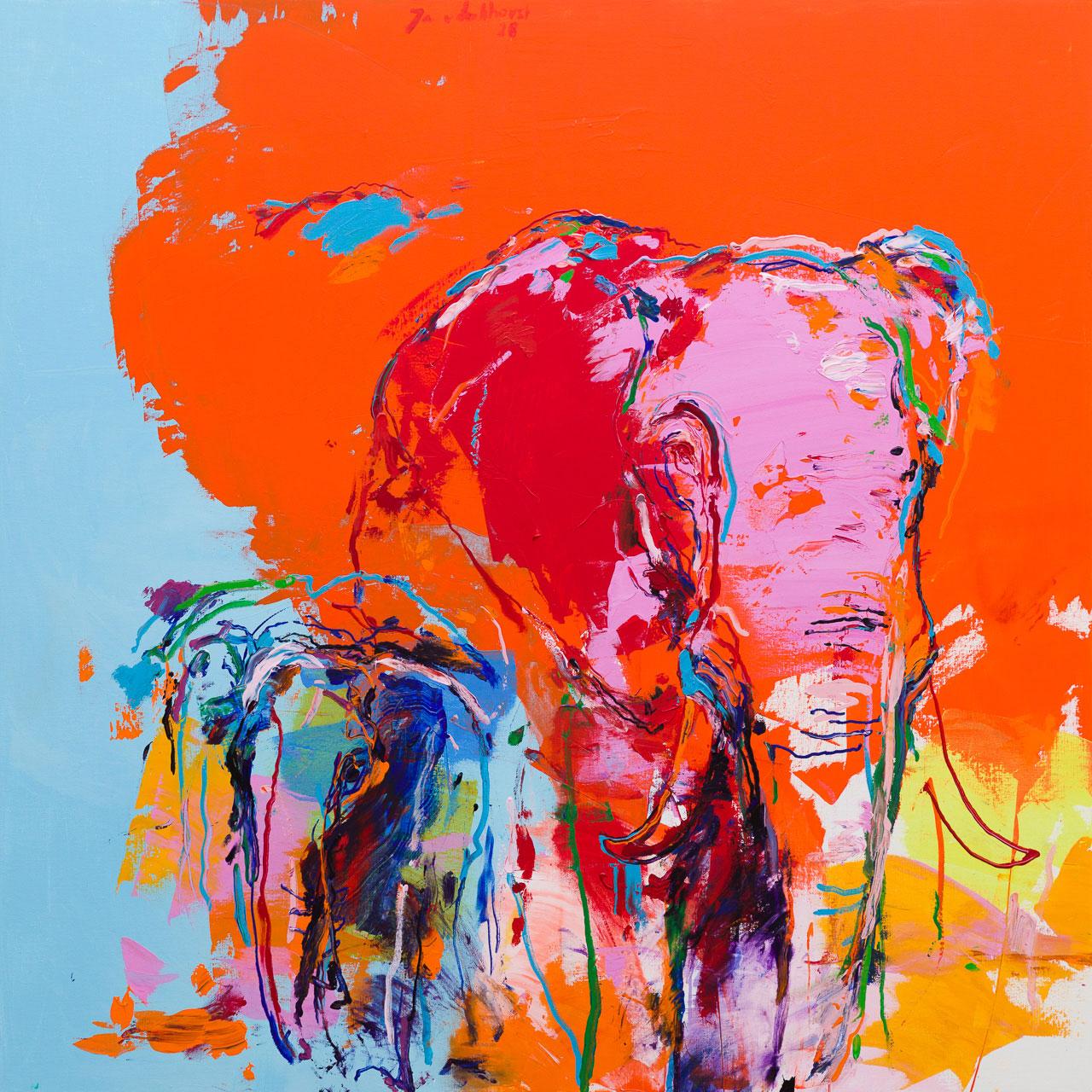 Schilderij olifanten oranje blauw