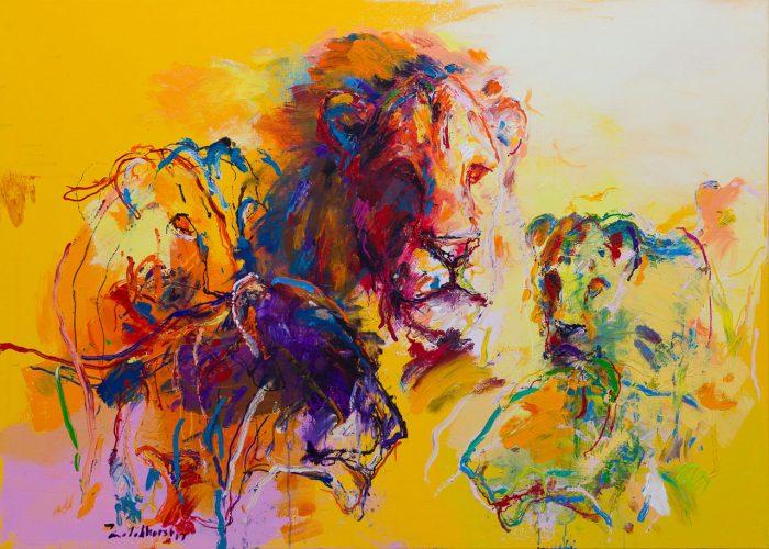 Schilderij leeuwen geel