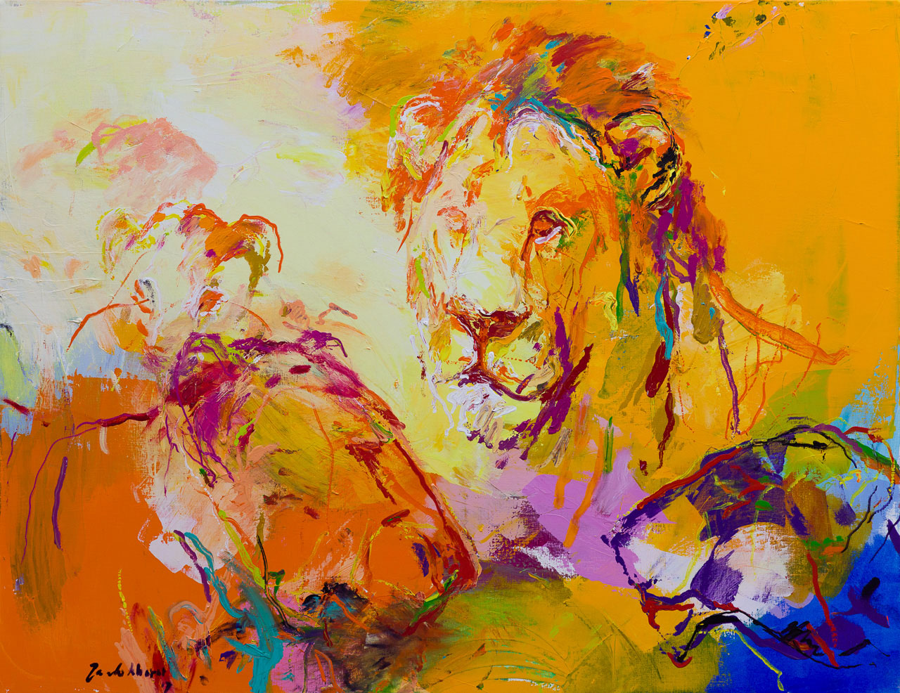 Schilderij leeuwen oranje