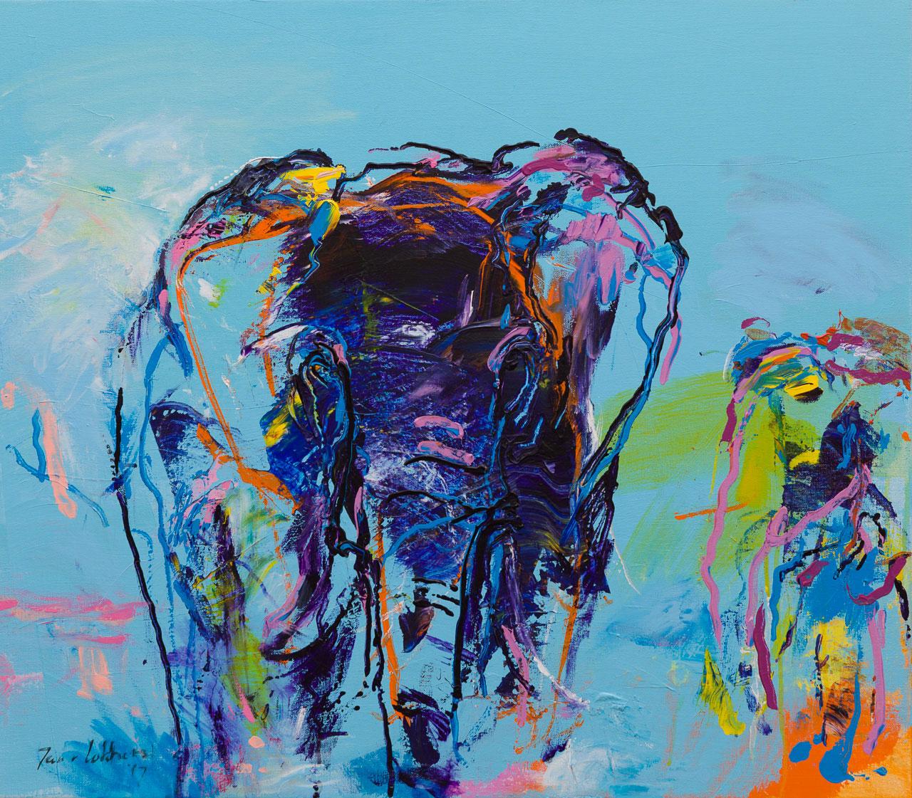 Olifanten schilderij blauw