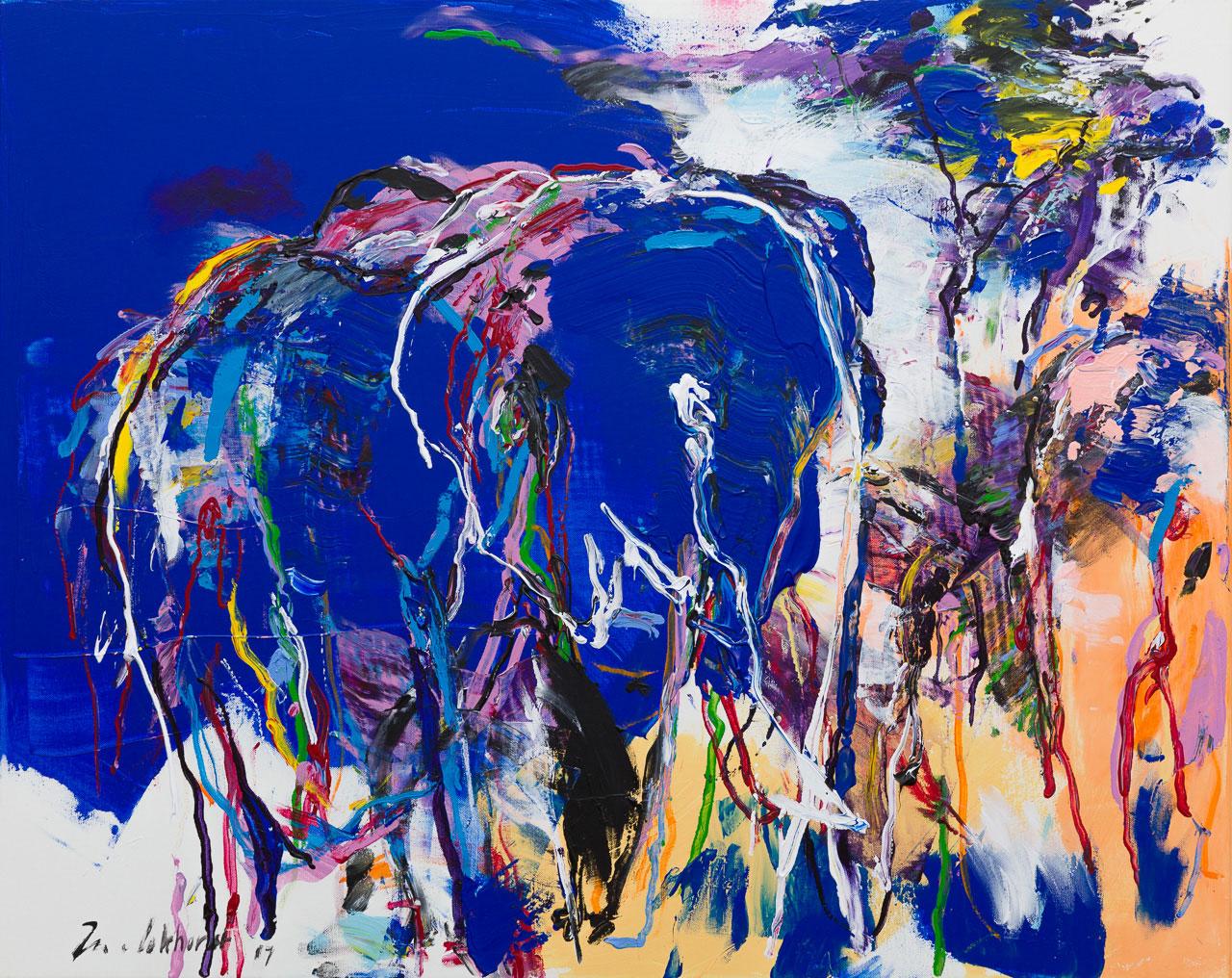 Olifanten schilderij donker blauw