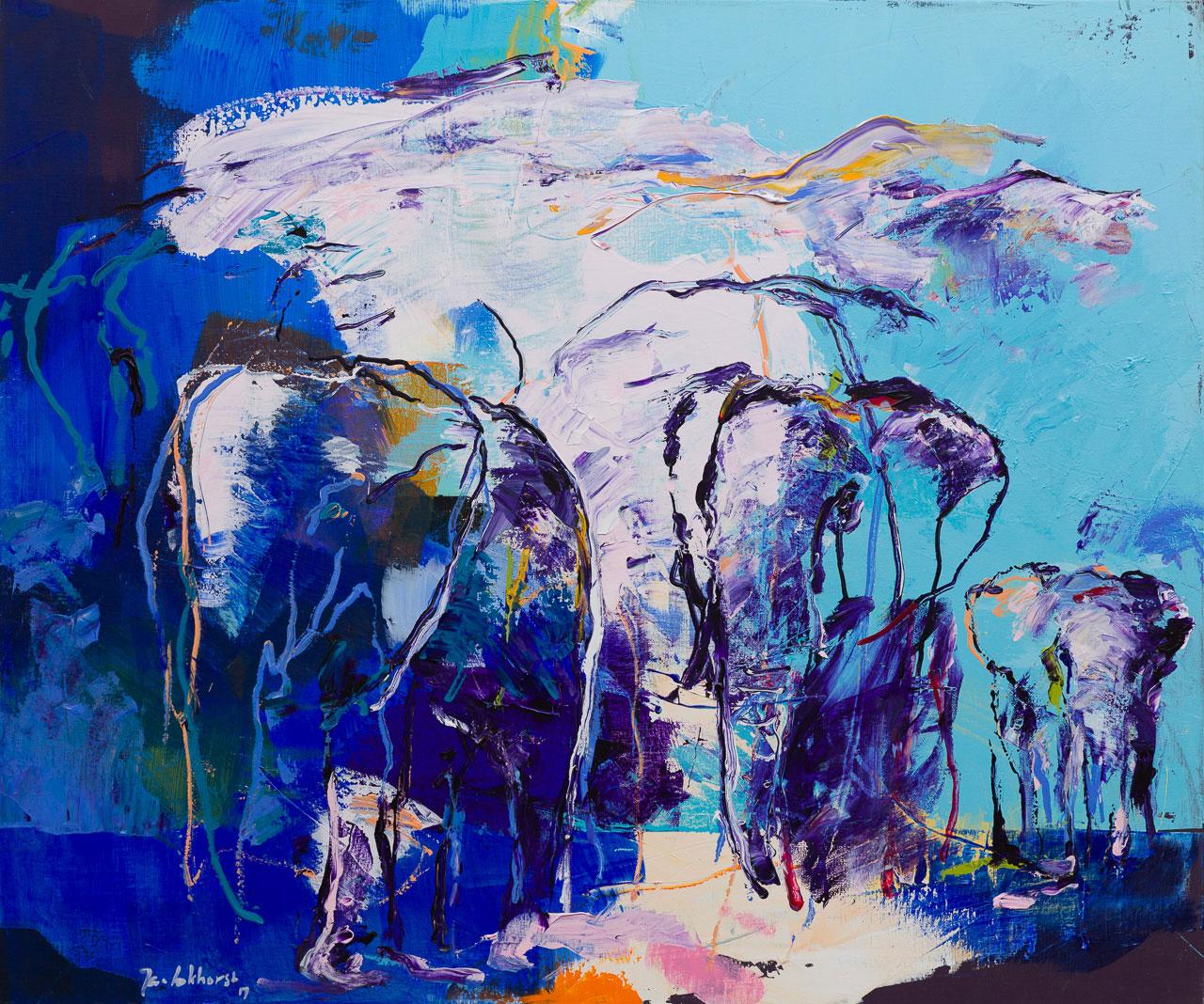 Schilderij olifanten donker blauw
