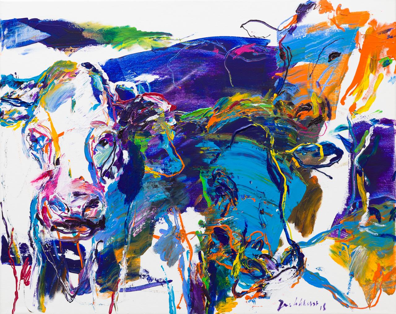 Gekleurde koeien schilderij