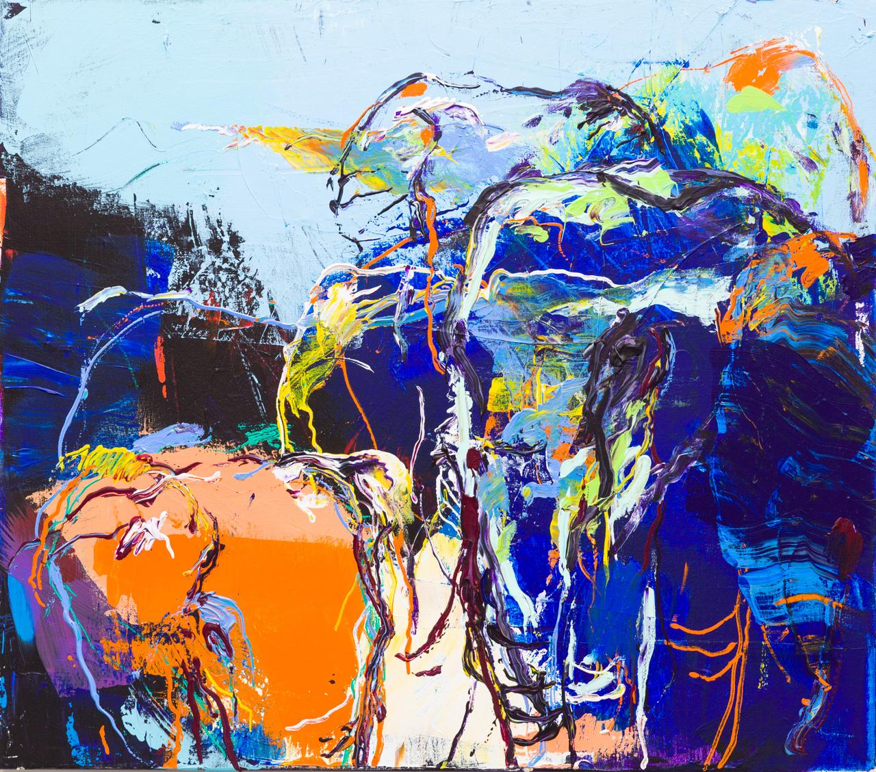 Olifanten schilderij abstract blauw