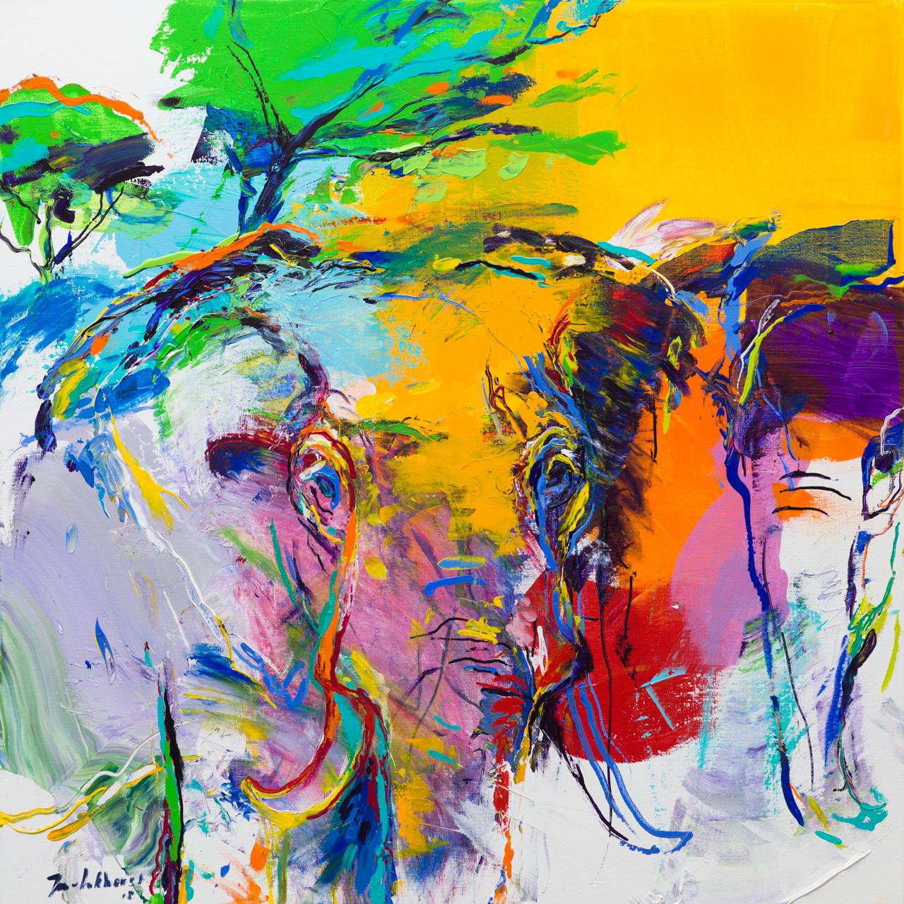 Olifanten schilderij geel paars