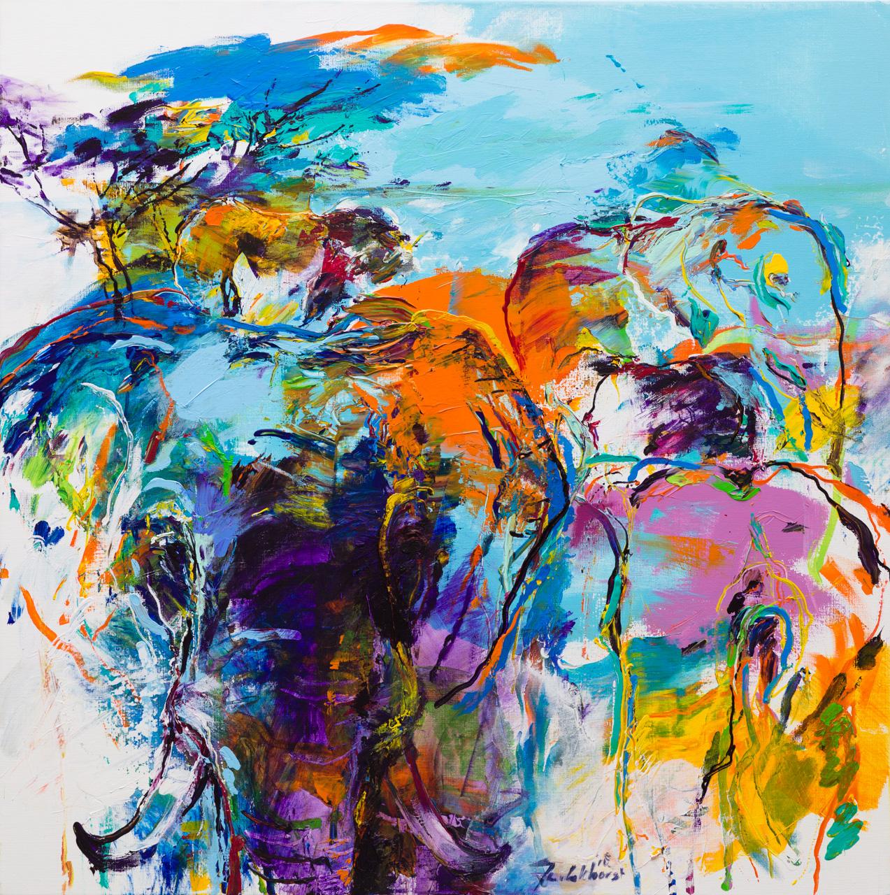 Olifanten schilderij paars blauw