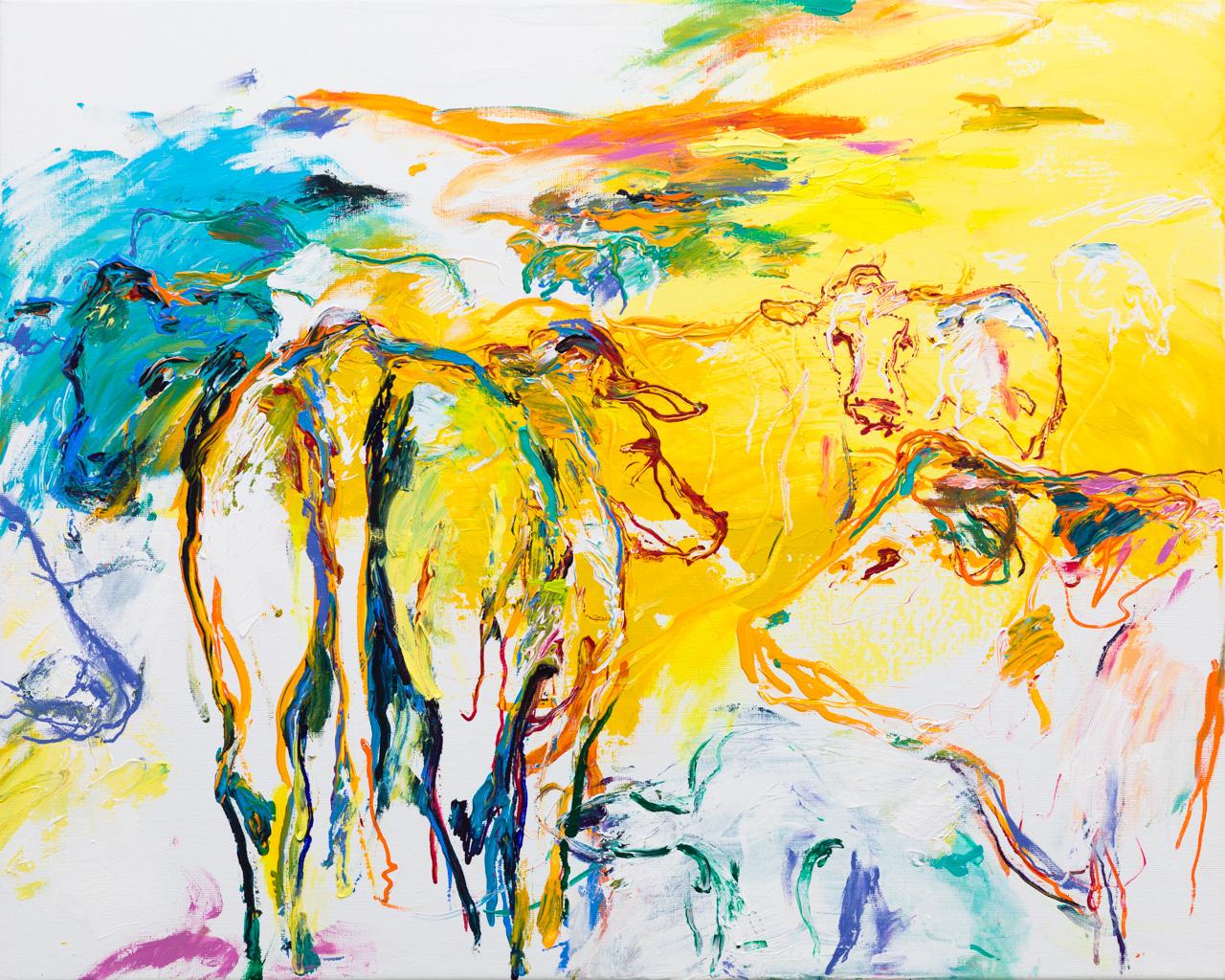 Schilderij koeien wit geel