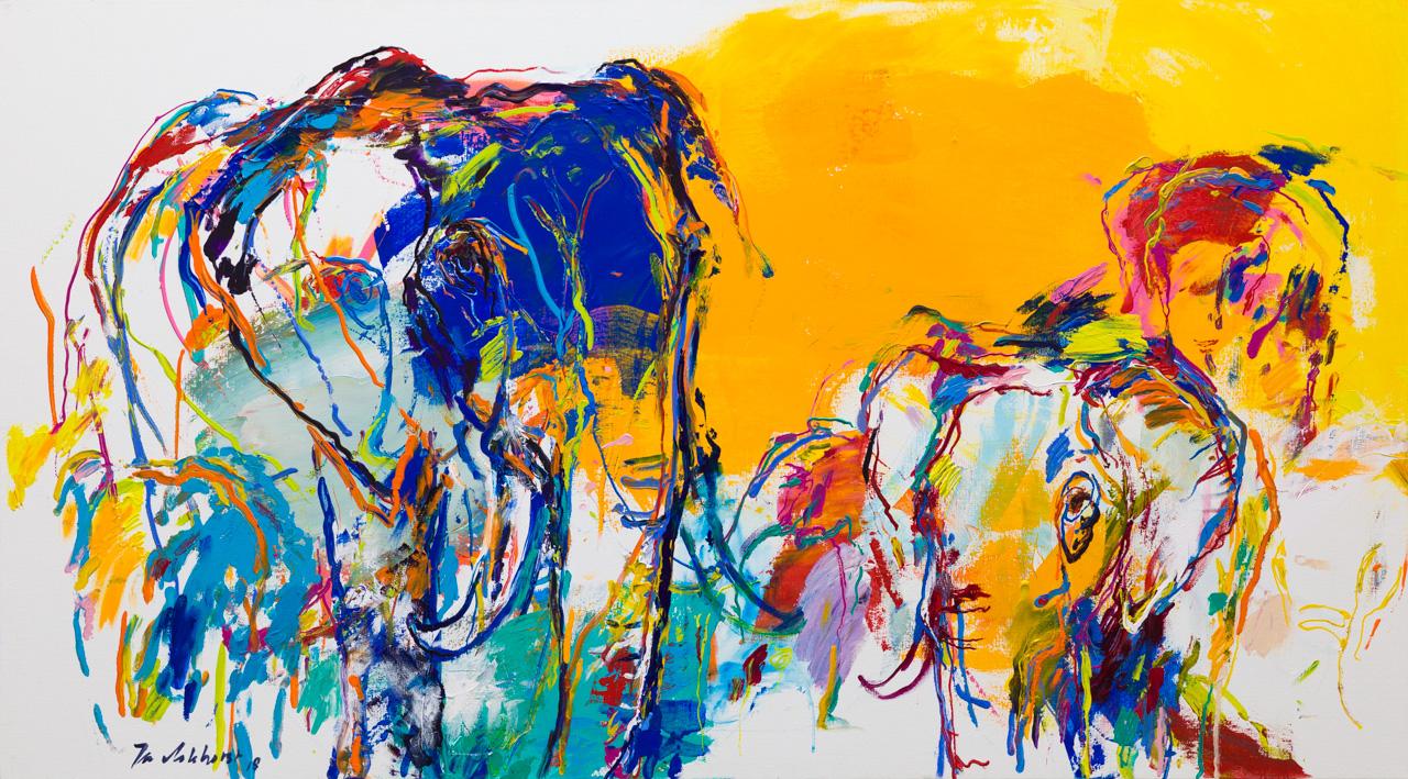 Schilderij olifanten abstract geel