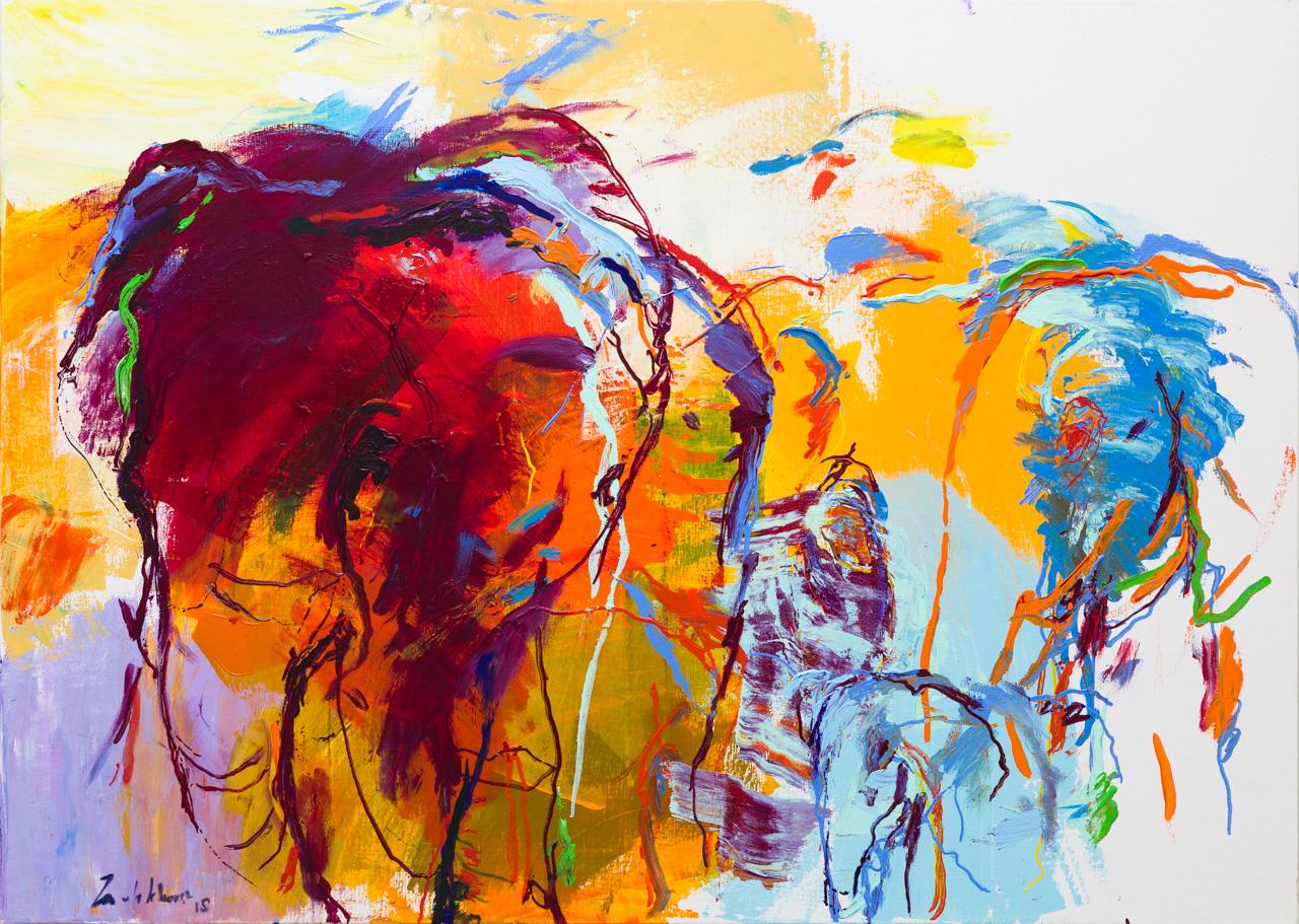 Schilderij olifanten paars geel
