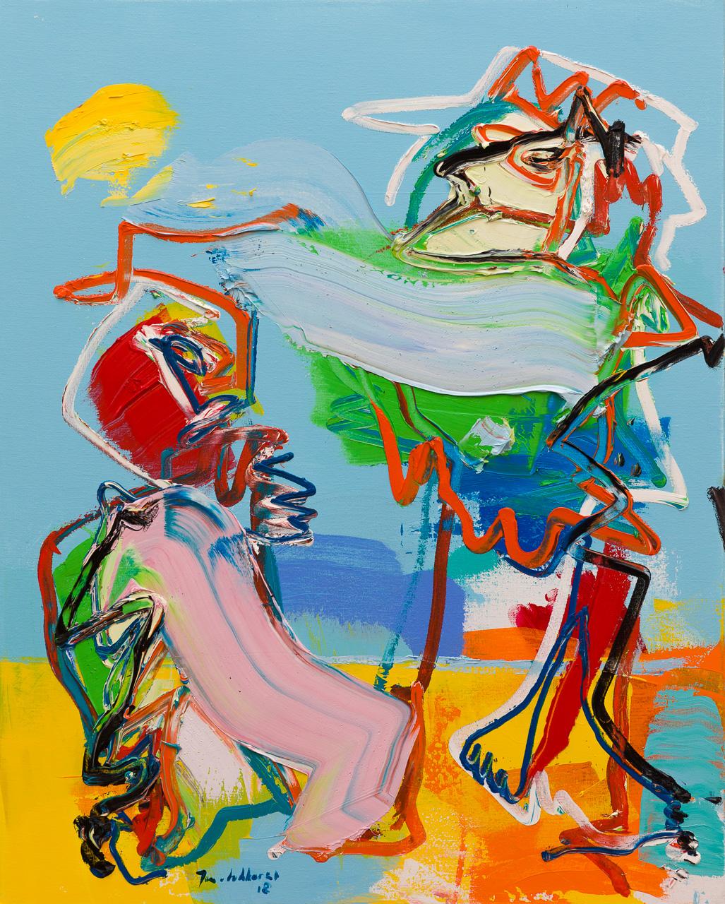 Abstracte mensfiguren blauw geel