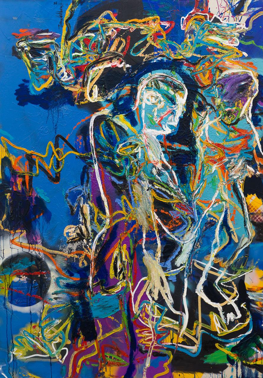 Abstracte mensfiguren blauw