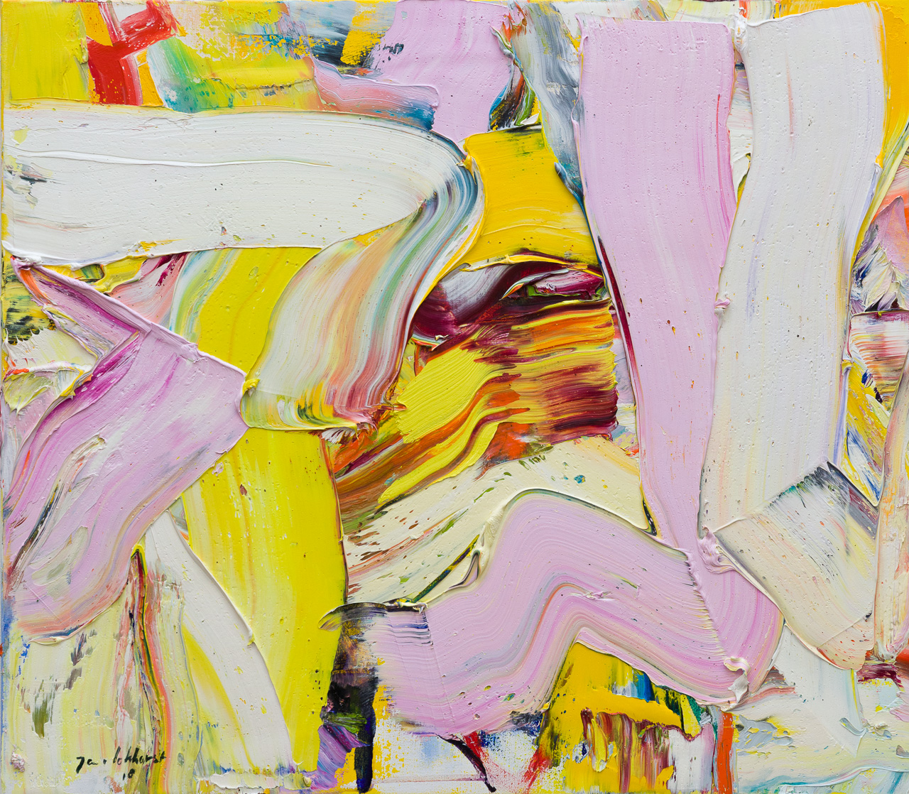 Abstracte mensfiguren geel