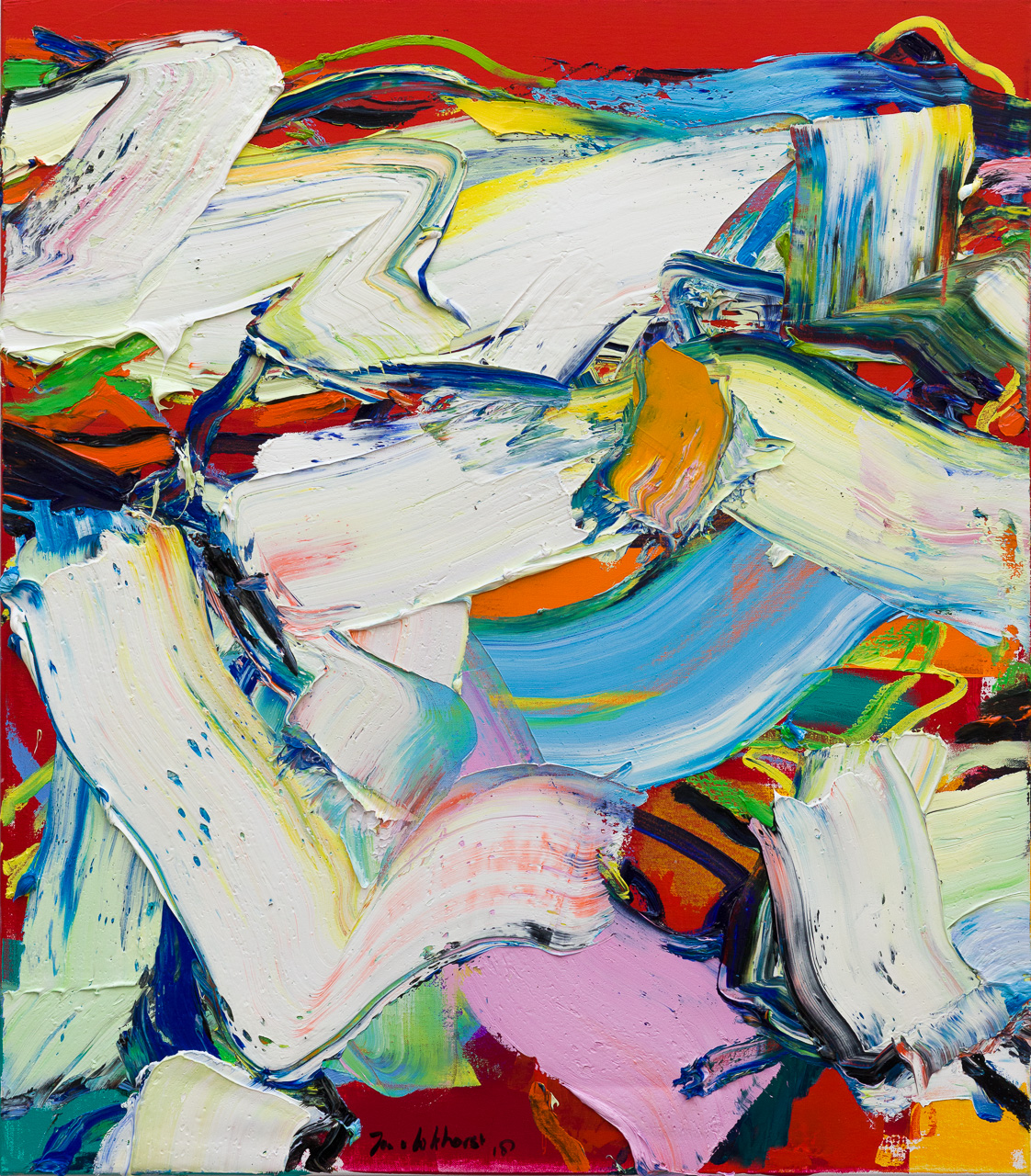 Abstracte mensfiguren rood blauw