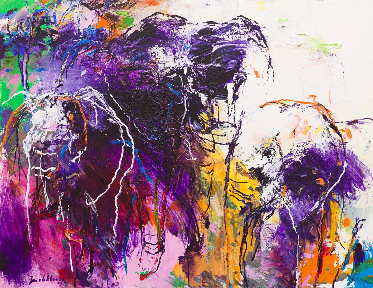 Olifanten schilderij paars wit