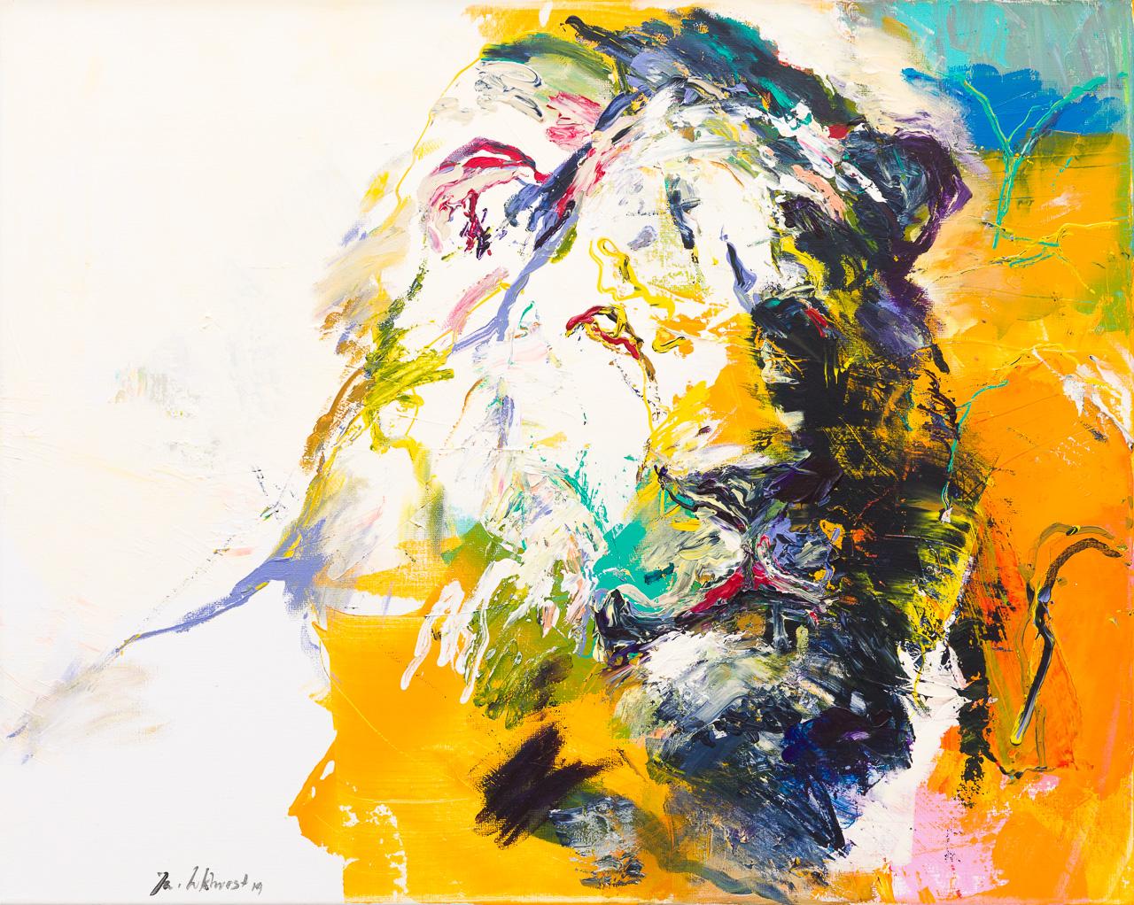Schilderij leeuw wit
