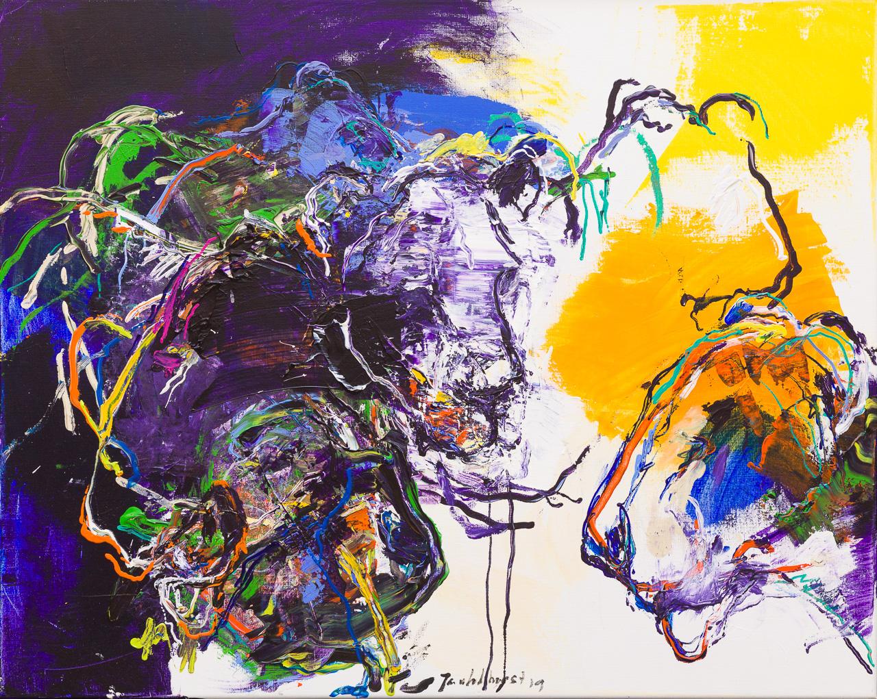 Schilderij leeuwen paars geel