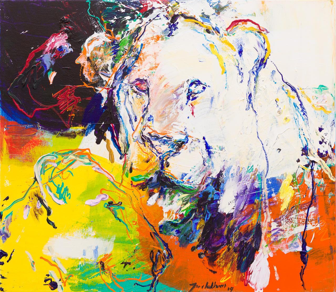 Schilderij leeuw geel wit