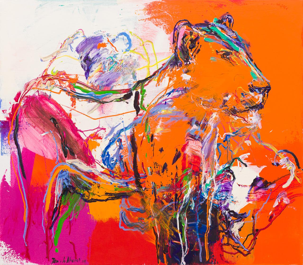 Schilderij leeuw oranje