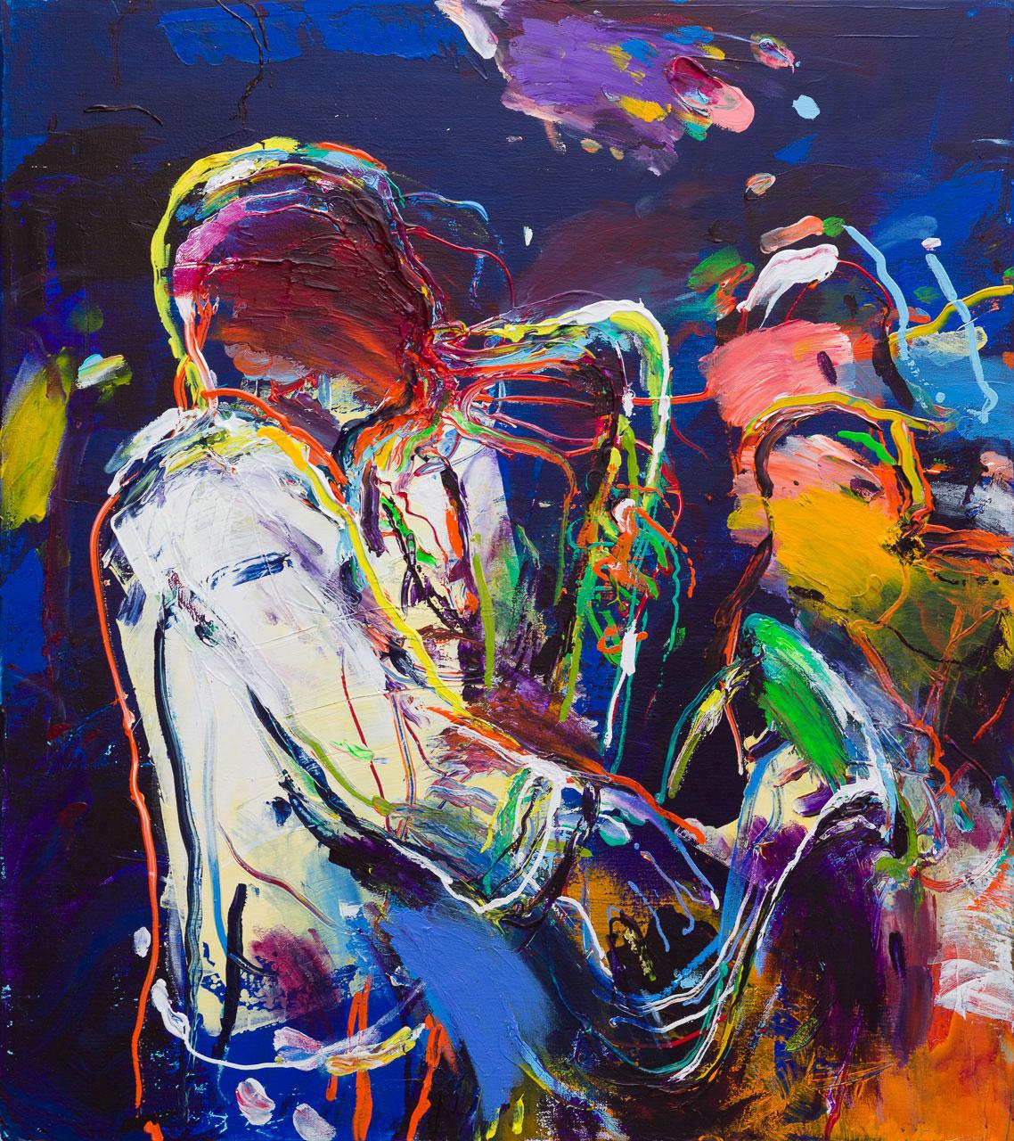 Saxofonist schilderij